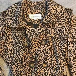 Calvin Klein Trench Coat Leopard Print
